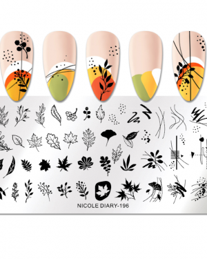 JenaesNails - Nicole Diary - Stamping Plates Autumn Leaves Line 196